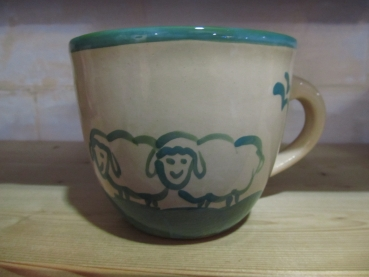 Sheep Mug green with sheep inside