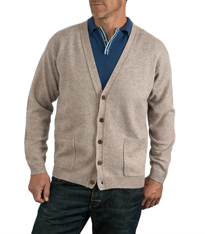 WoolOvers Womens Lambswool Crew Neck Cardigan